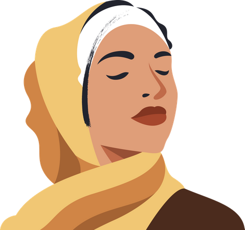 Hijab woman with closed eyes Illustration