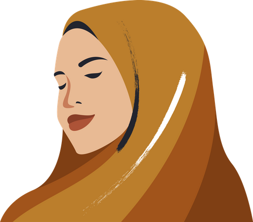 Hijab woman with covered head Illustration