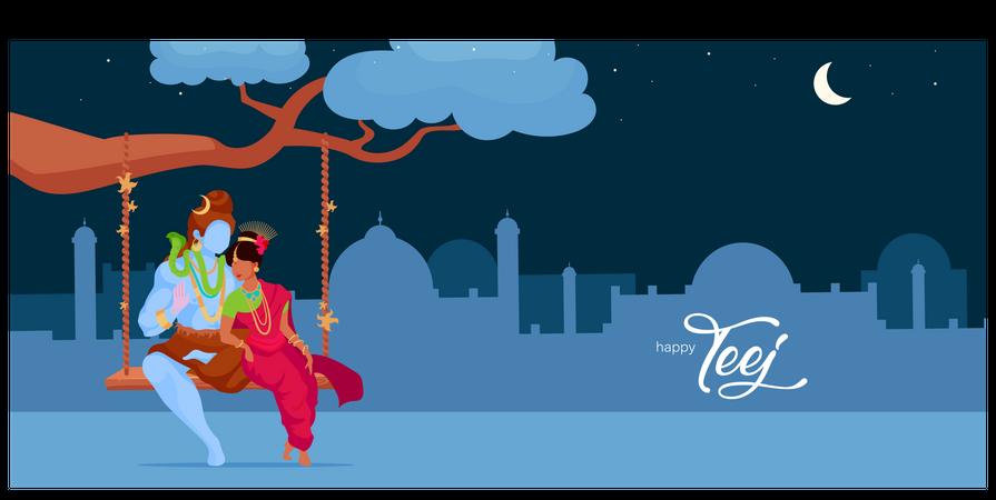 Hindu Deity In Love Illustration