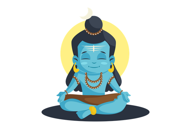 Hindu God Shiva Cartoon face Illustration