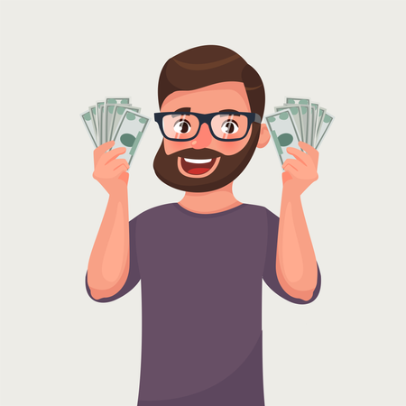 Hipster beard man with banknotes of money in his hands Illustration