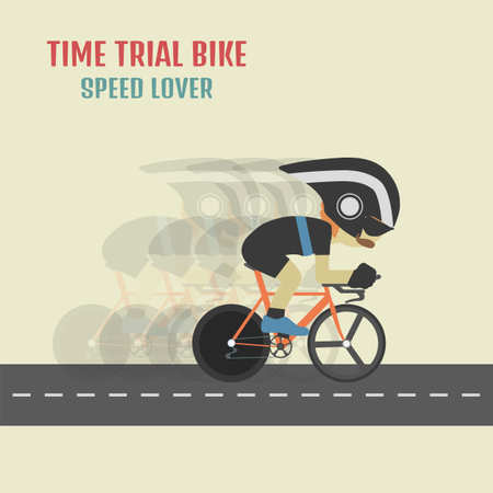 Hipster Cyclist On Time Trial Bike