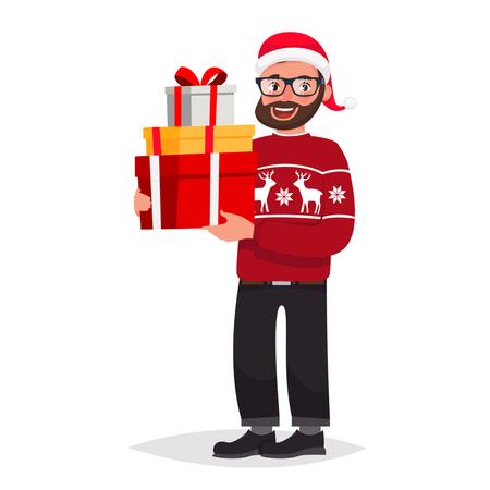 Hipster man in glasses with beard dressed in a sweater and a Christmas hat is holding presents Illustration