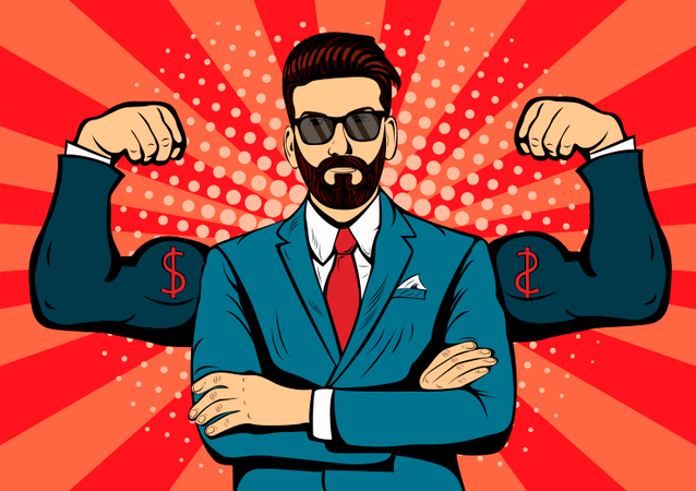 Hipster man with beard and muscles currency dollar pop art retro styl Illustration