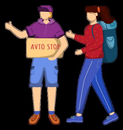 Hitchhiking Illustration
