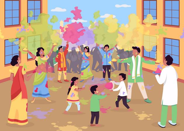Holi celebration Illustration