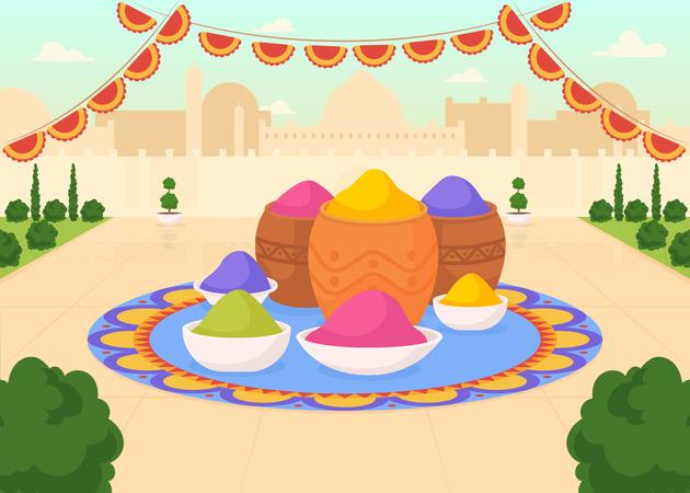 Holi colors Illustration