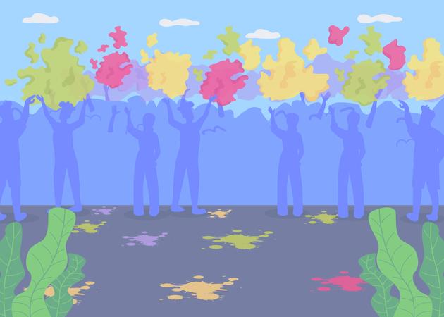 Holi party scene Illustration