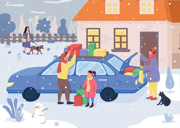 Holiday family shopping Illustration