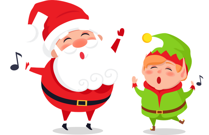 Holly Jolly Greeting Card with Santa Claus and Elf Illustration