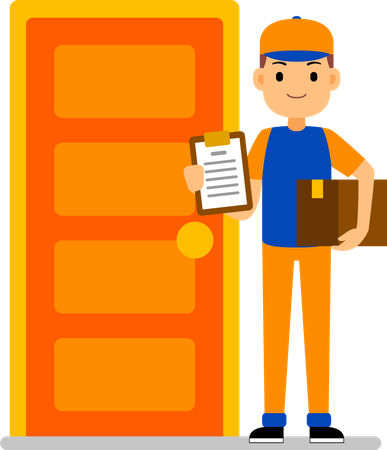 Home Delivery - Courier boy stands near the home door and holds package box Illustration