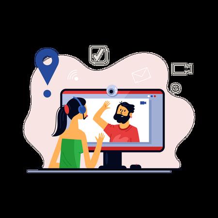 Home e-learning concept Illustration