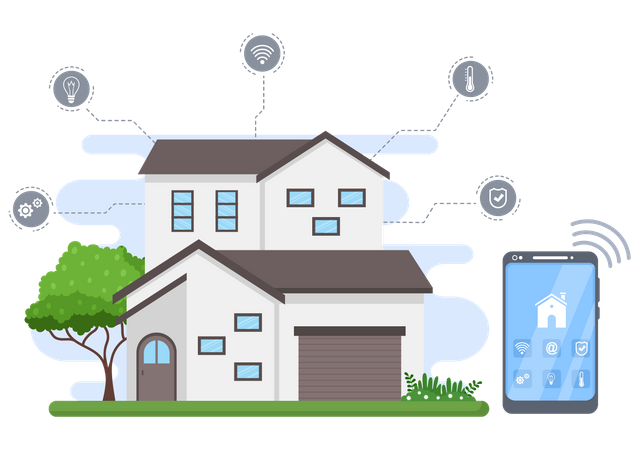 Home equipped with smart appliances Illustration