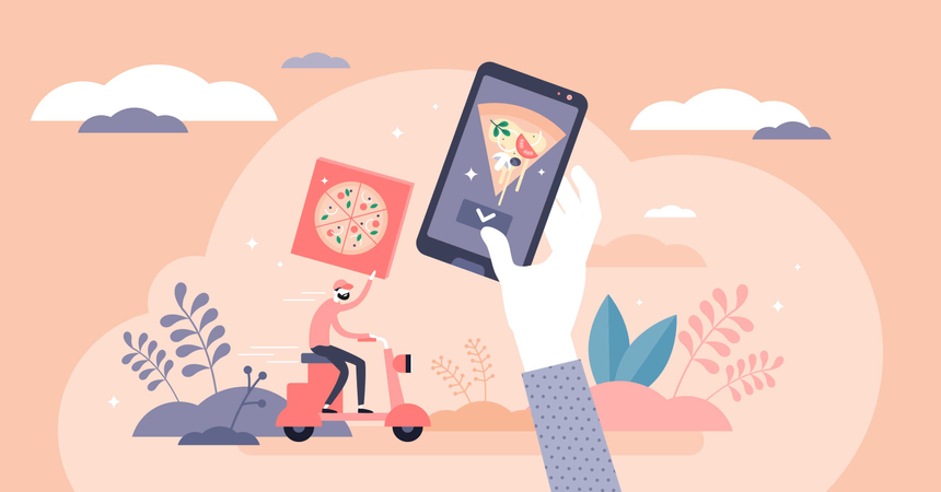 Home food delivery service concept Illustration