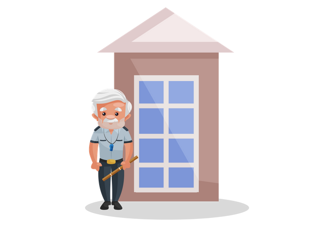 Home guard standing outside house Illustration