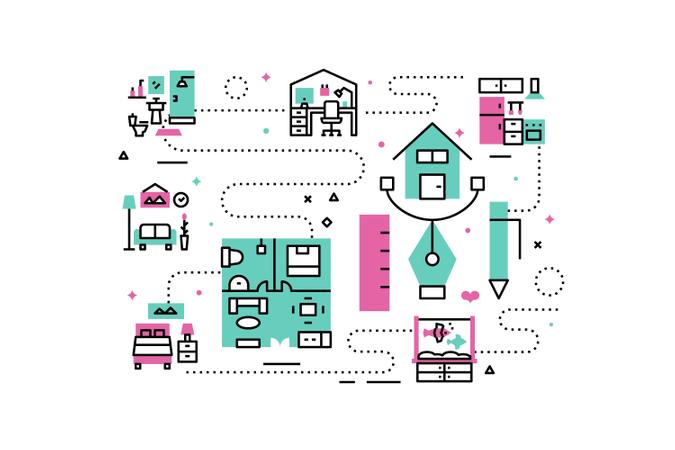 Home interior line icons illustration Illustration