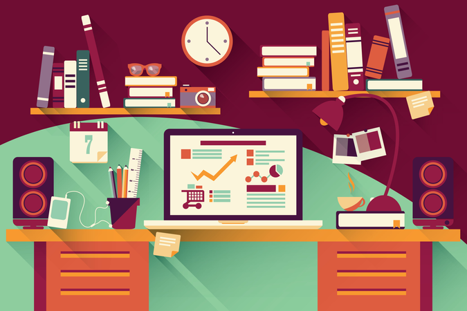 Home office desk - flat design, long shadow, work desk, computer and stationery Illustration