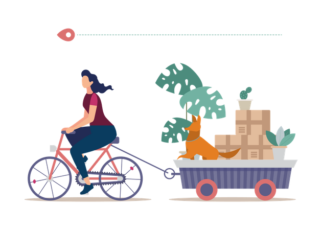 Home Removal by Own Transport Illustration