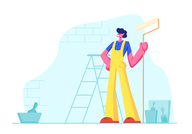 Home Repair Worker with Roller for Wall Painting Illustration