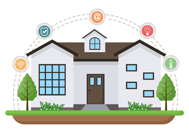 Home with smart internet devices Illustration