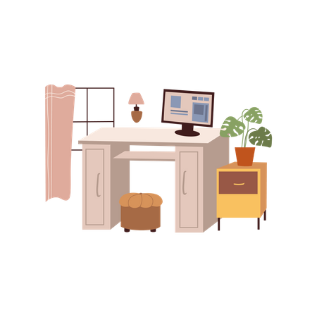 Home Workplace Illustration