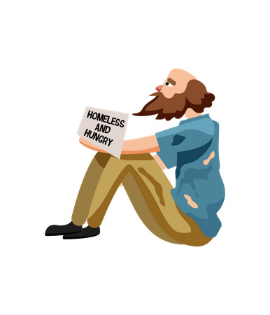 Homeless and hungry Man Illustration