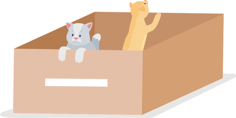 Homeless grey and tabby cats Illustration