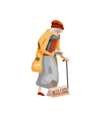Homeless lady holding plate bagging for food Illustration