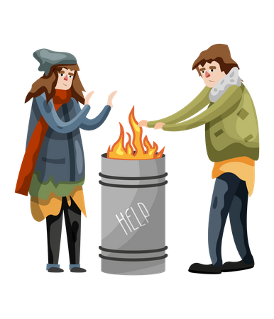 Homeless male and female people shaking hands on fire in winter Illustration