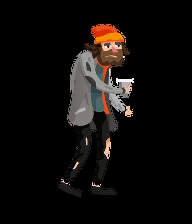 Homeless male begging money Illustration