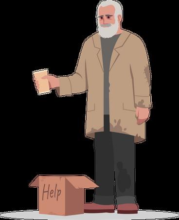 Homeless man beg for money Illustration
