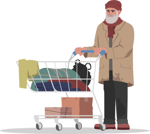 Homeless man collecting clothes in cart Illustration