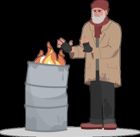 Homeless man near flaming bin Illustration