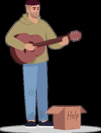 Homeless musician earning money by performance Illustration