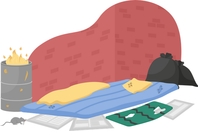 Homeless sleeping place Illustration