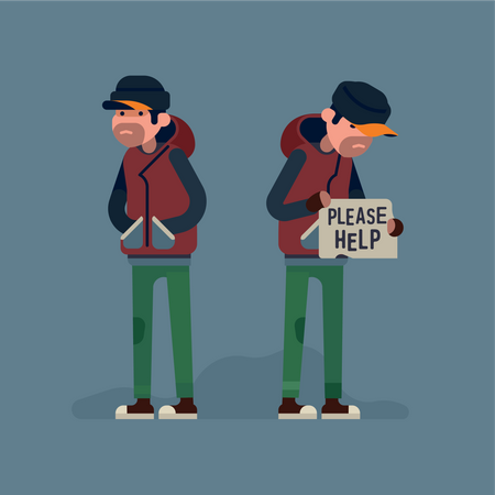 Homeless unemployed person in need of help Illustration