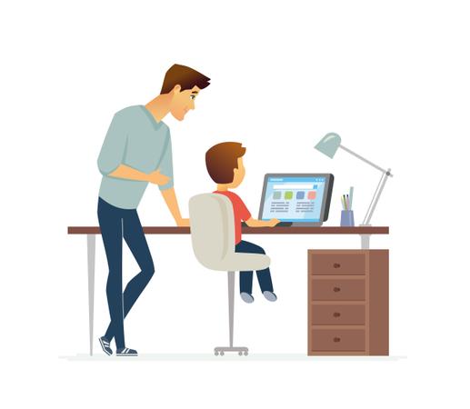 Homework - Cartoon People Characters Illustration Illustration