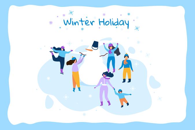 Horizontal Flat Banner Winter Holiday Illustration