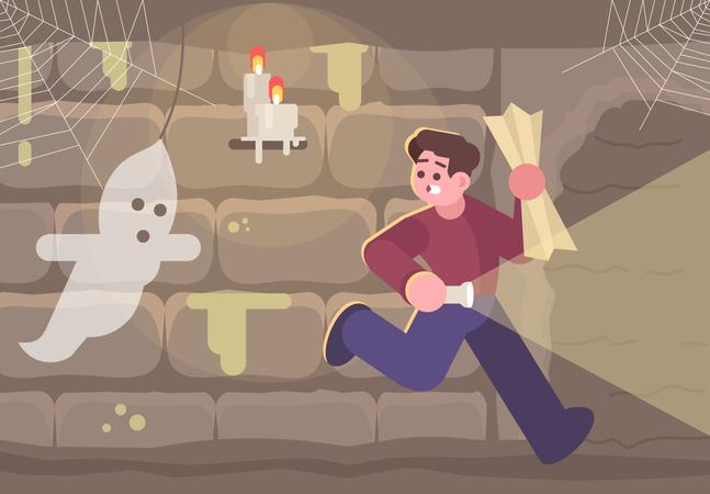 Horror escape room Illustration