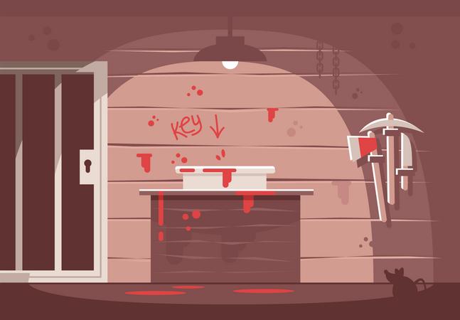 Horror themed escape room Illustration