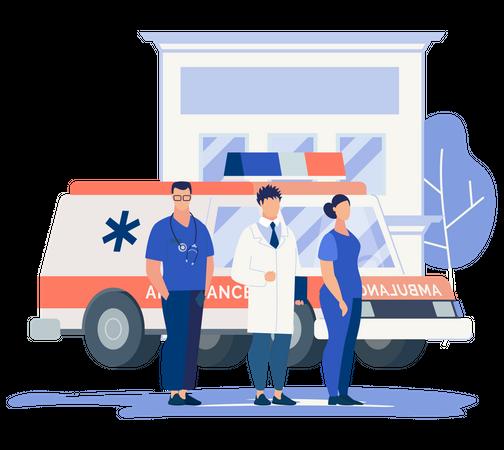 Hospital and medical assistants and ambulance Illustration