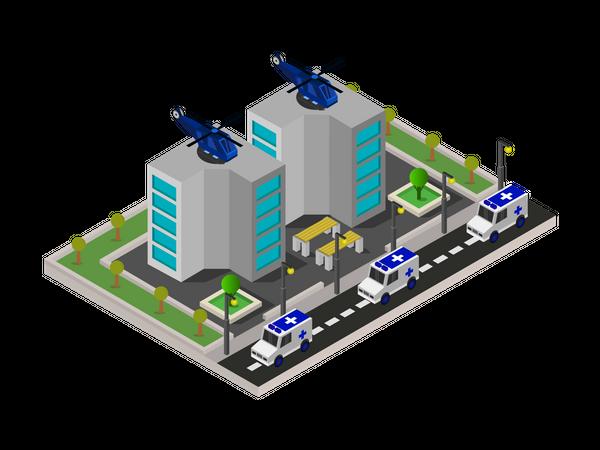 Hospital-based air ambulance service Illustration
