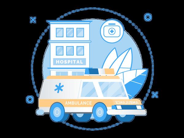 Hospital or Emergency Vehicle Service Illustration