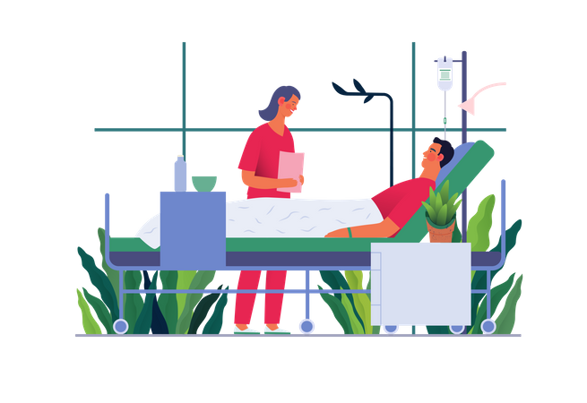Hospital patient in the private ward and doctor checking patient Illustration