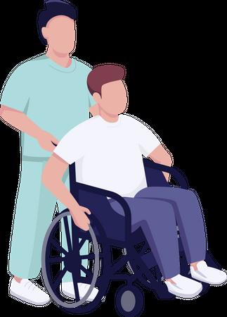 Hospital patient in wheelchair Illustration