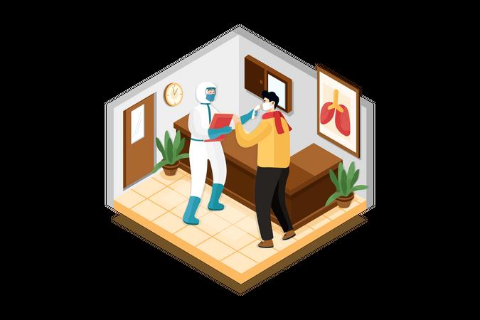 Hospital patient temperature check Illustration