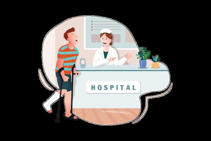Hospital Reception Desk Illustration