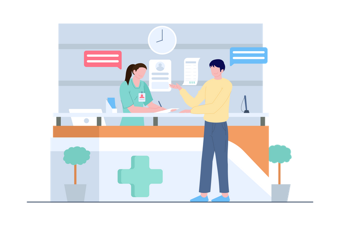 Hospital receptionist consulting with patient Illustration