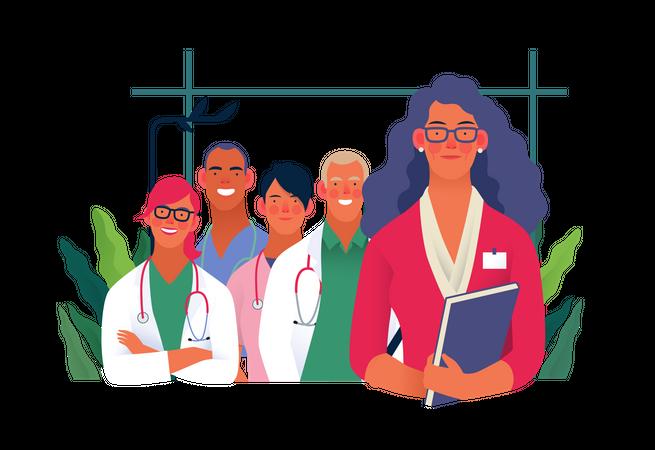 Hospital staff standing together Illustration