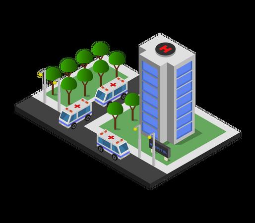 Hospital tower Illustration